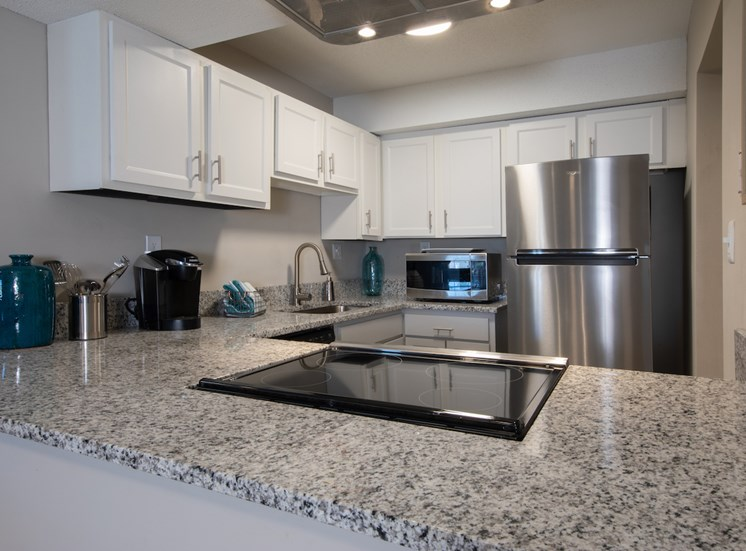 Sleek granite countertops and flat top stove with stainless steel appliances