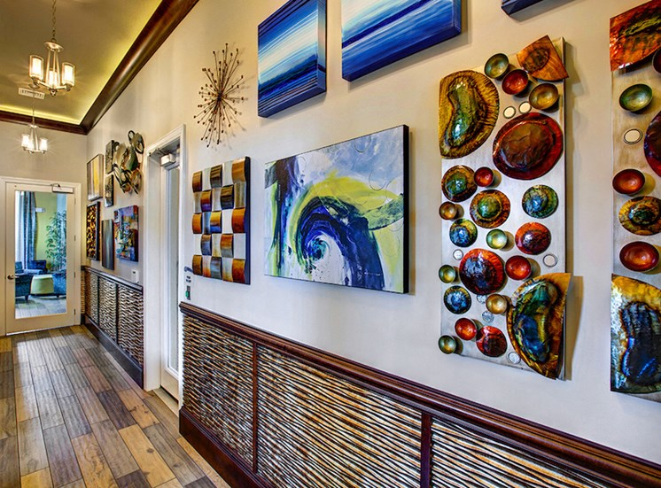 colorful artwork in clubhouse area