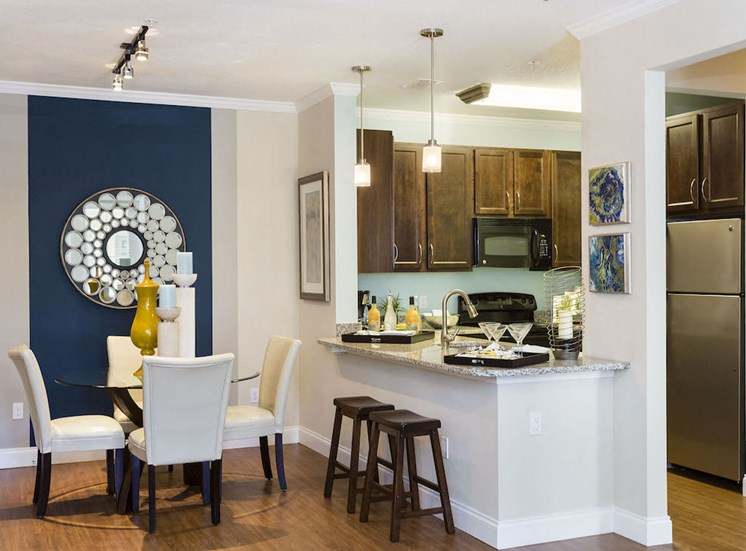 open dining area and kitchen bar