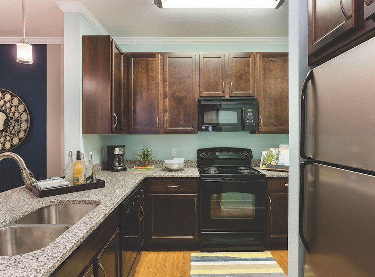 stylish black and chrome appliances in kitchen