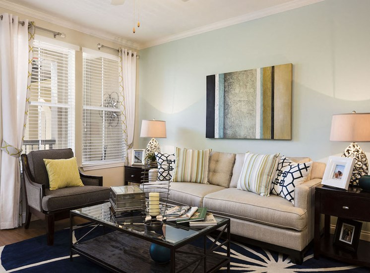 model living room with designer accent wall