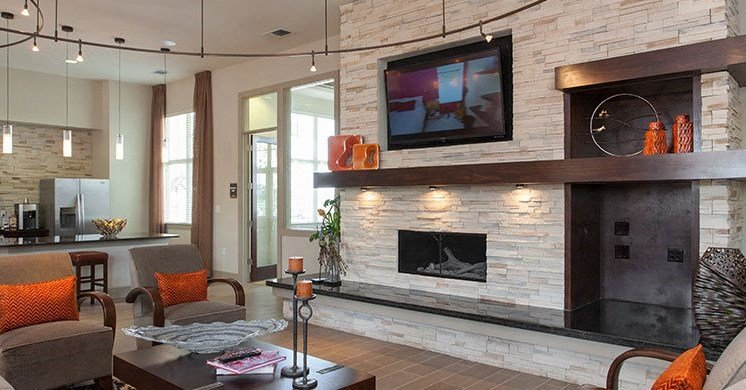 clubhouse with fireplace