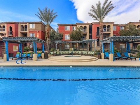 Montecito Pointe Swimming Pool With Relaxing Sundecks in Nevada Apartment Homes for Rent