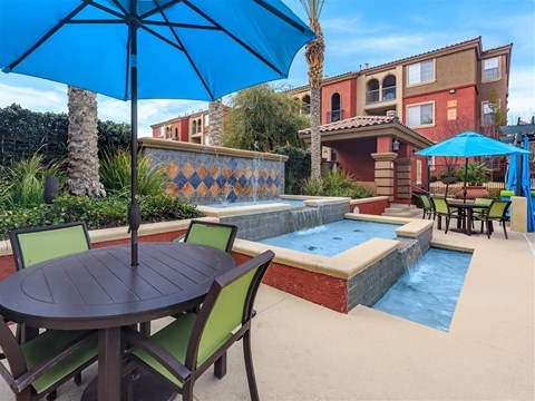 Shaded Montecito Pointe Lounge Area By Pool in Nevada Rental Homes