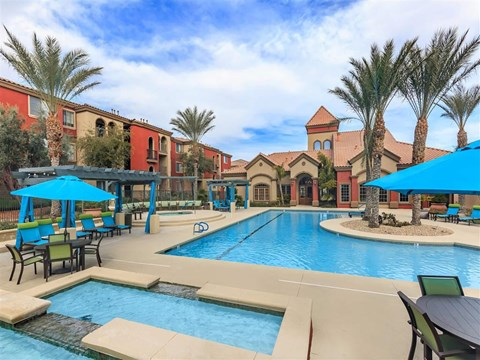Montecito Pointe Community Clubhouse With Swimming Pool in Las Vegas, NV Apartments for Rent