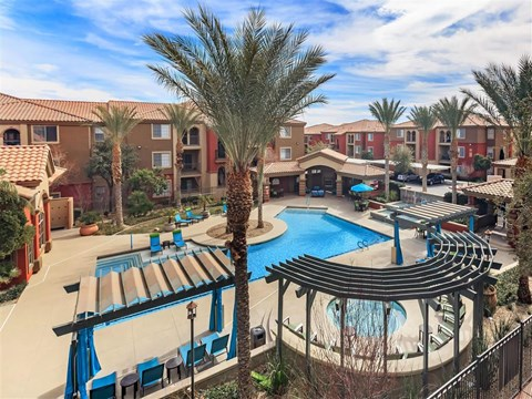 Aerial View Of Montecito Pointe Pool in Las Vegas, NV Apartment Homes