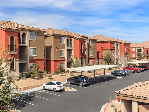 Ample Montecito Pointe Parking Area And Detached Garages Available in Las Vegas Apartment Rentals for Rent