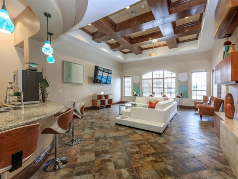 Large Montecito Pointe Clubhouse With Ample Sitting And Television in Nevada Apartments