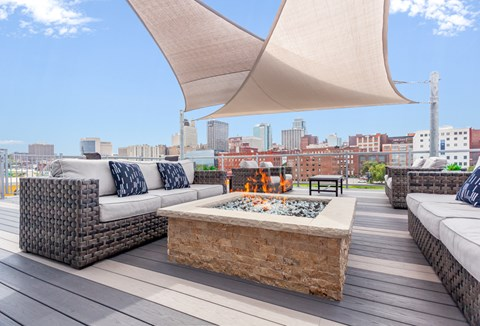 Rooftop patio space with skyline views
