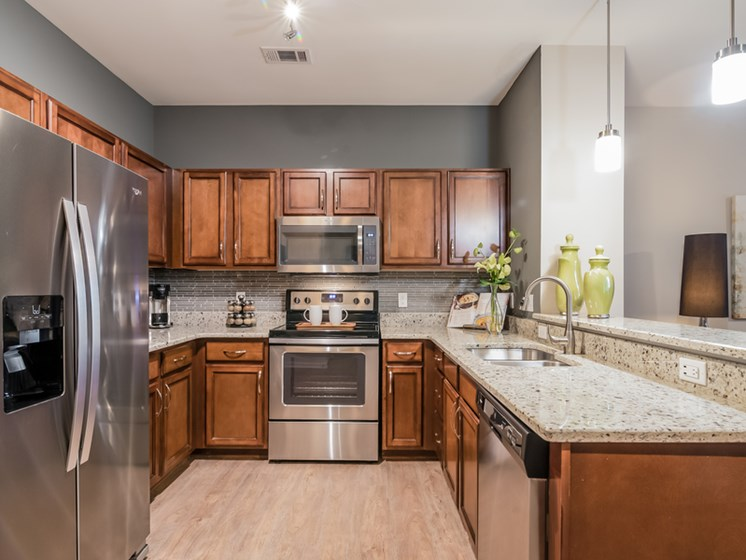 Fully Furnished Kitchen With Stainless Steel Appliances at Sorelle, Atlanta, GA, 30324
