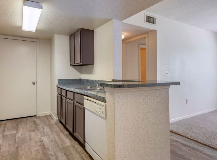 Kitchen with hardwood style flooring and breakfast bar
