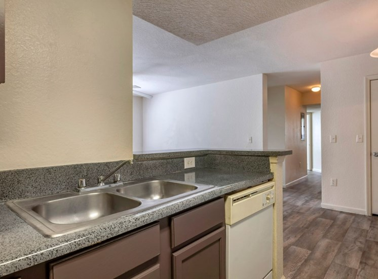 Kitchen with hardwood style flooring and double basin sink