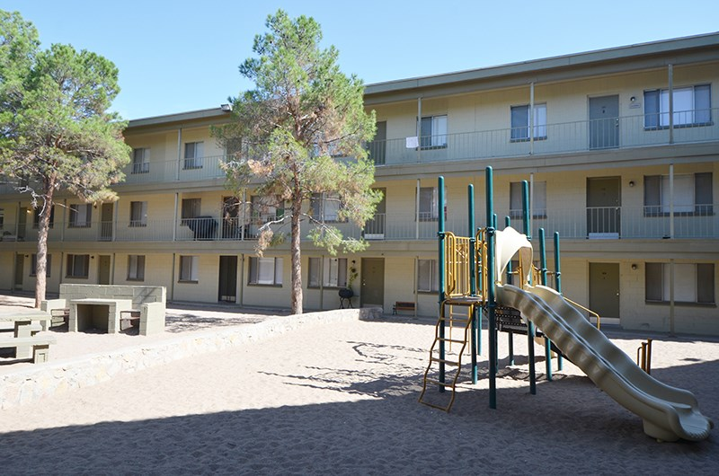 Playground near building