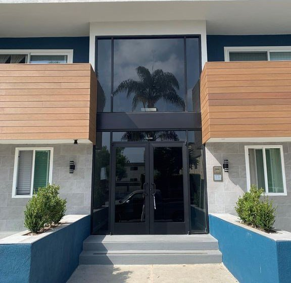 Front Entry of Building for Federal Ave Apartments in Sawtelle, California