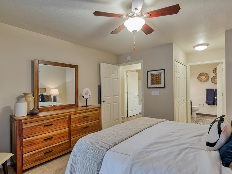 Pet Friendly Apartments in Lake Oswego OR-Kruseway Commons Master Bedroom with Large Walk In Closet and Private Bathroom