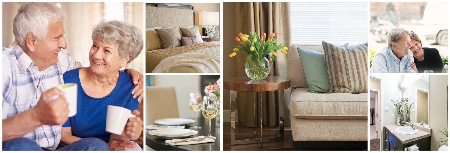 Collage of interior, exterior, and lifestyle images at Dalhousie Place in Amherstburg, ON