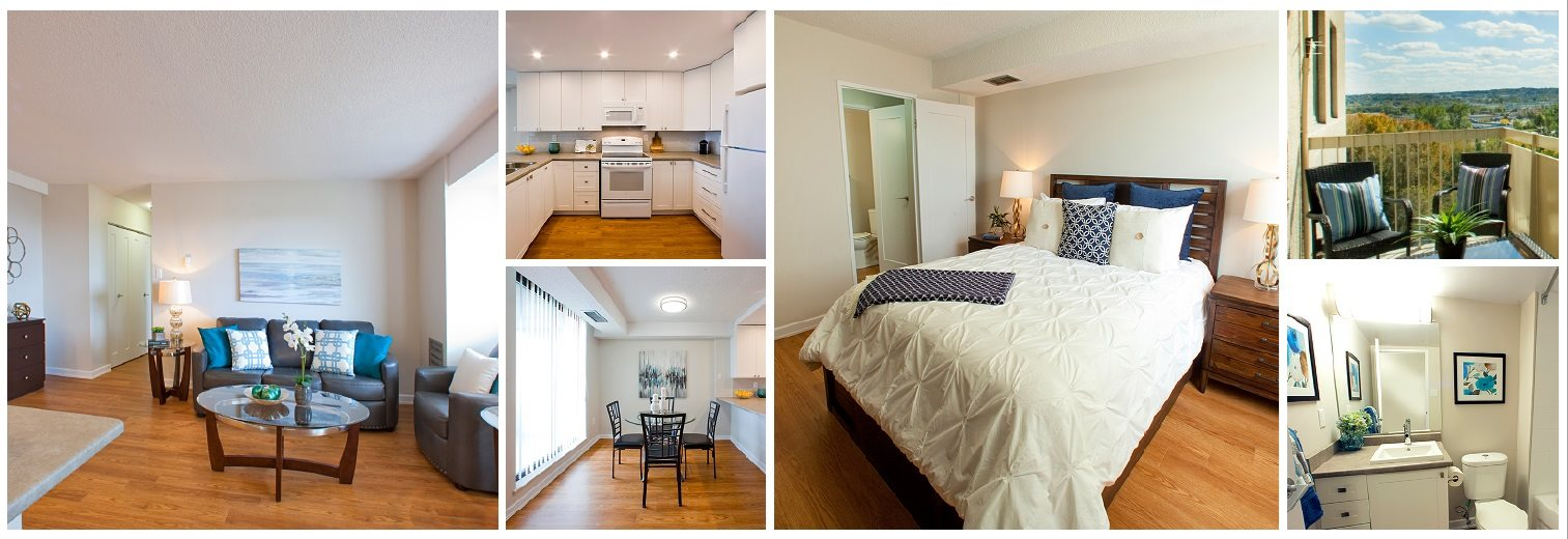 Collage of photos of available apartment suites in Edgehill Apartments