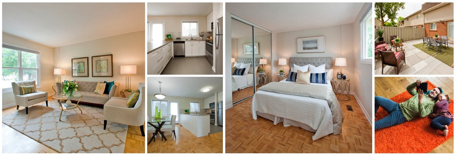 Collage of interior designs of our living rooms, bedrooms, and patios at Tamarack Woods in Barrie, ON