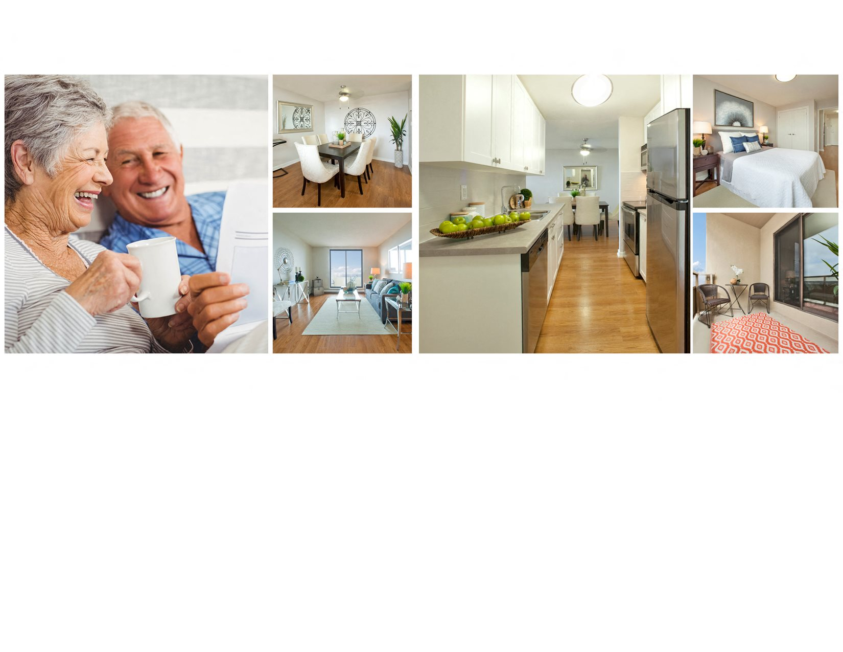 Collage of interior, exterior, and lifestyle images at Albany Place in Fort Erie, ON