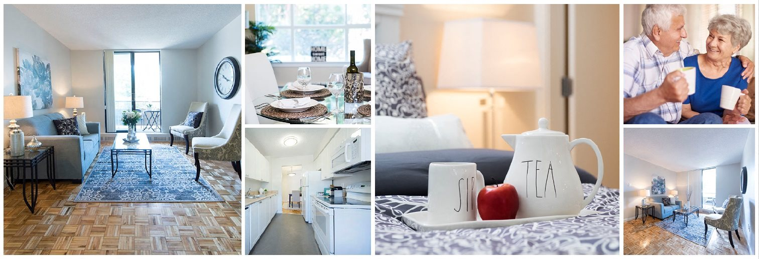 Collage of interior, exterior, and lifestyle images at Highpoint Kitchener in Kitchener, ON