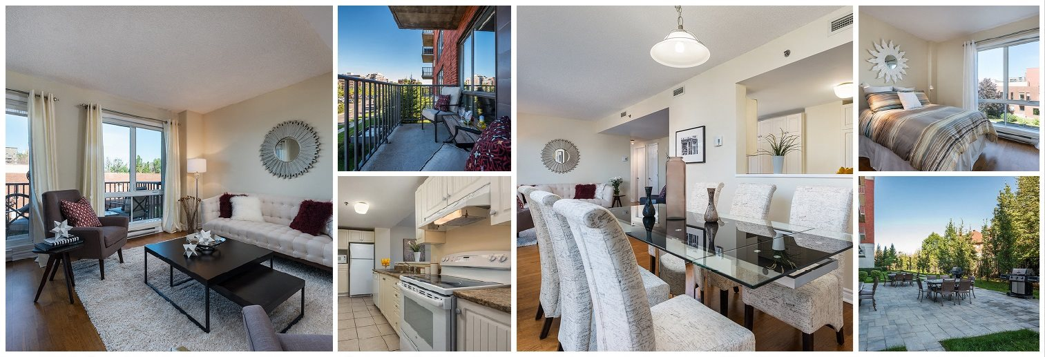 Collage of interior, exterior at Excelsior Apartments in Montreal, QC