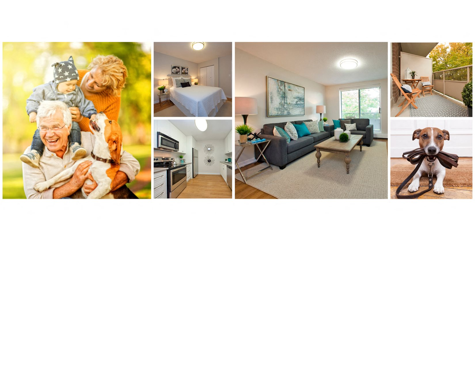 Collage of interior, exterior, and lifestyle images at Dorchester Apartments in Niagara Falls, ON