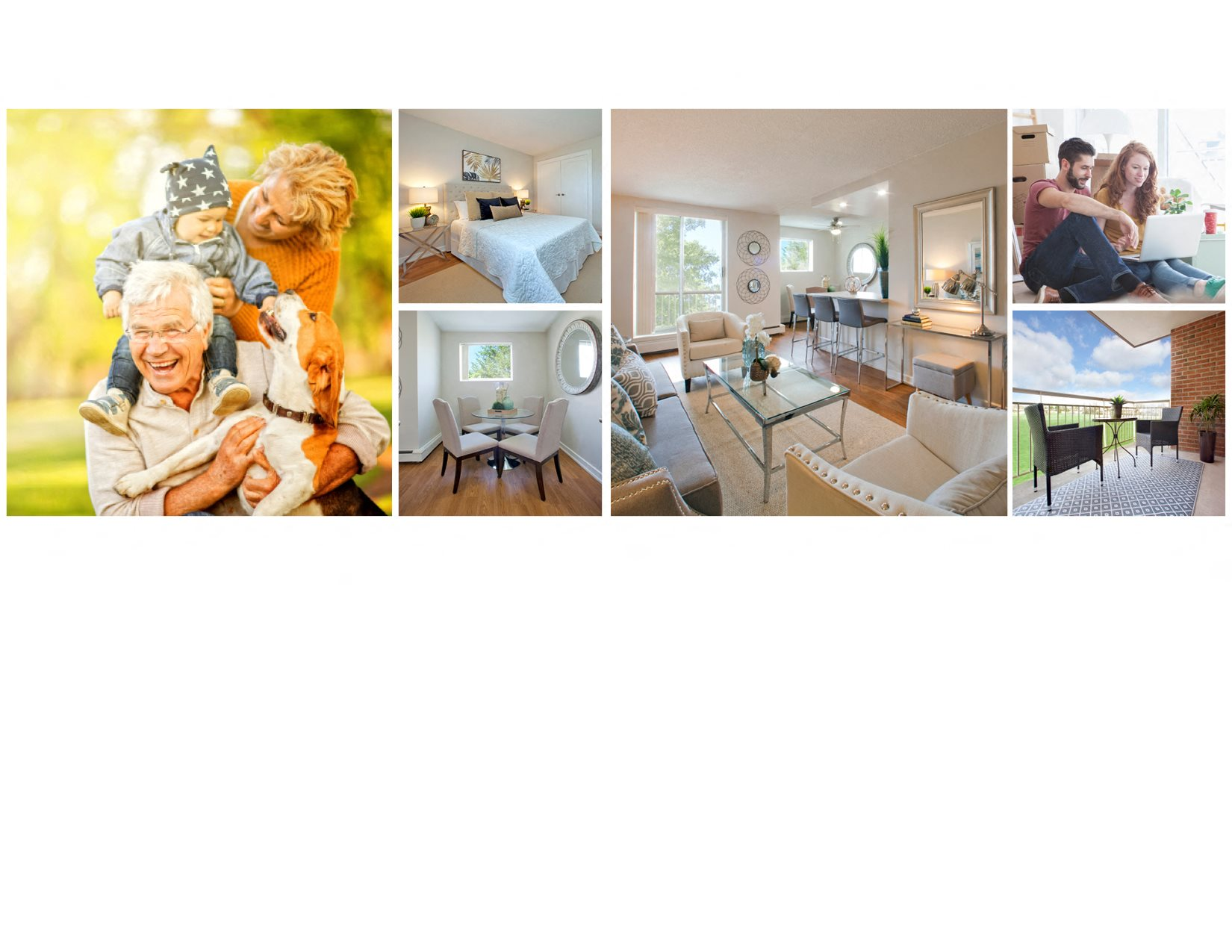 Collage of interior, exterior, and lifestyle images at Lyndon Place in Niagara Falls, ON