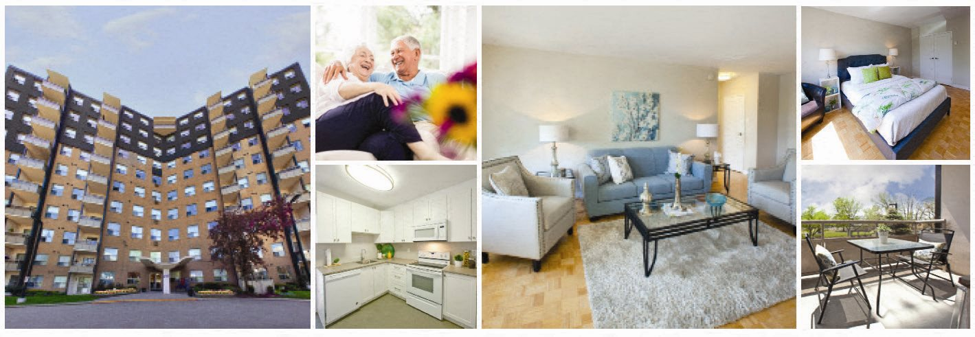Collage of interior, exterior, and lifestyle images at Fairway Towers in Sarnia, ON