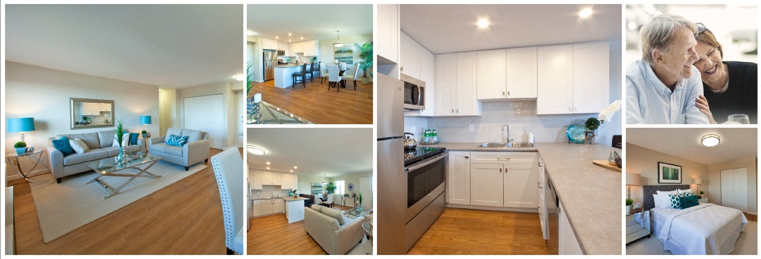 Collage of interior, exterior, and lifestyle images at Regency Towers in St. Catherines, ON