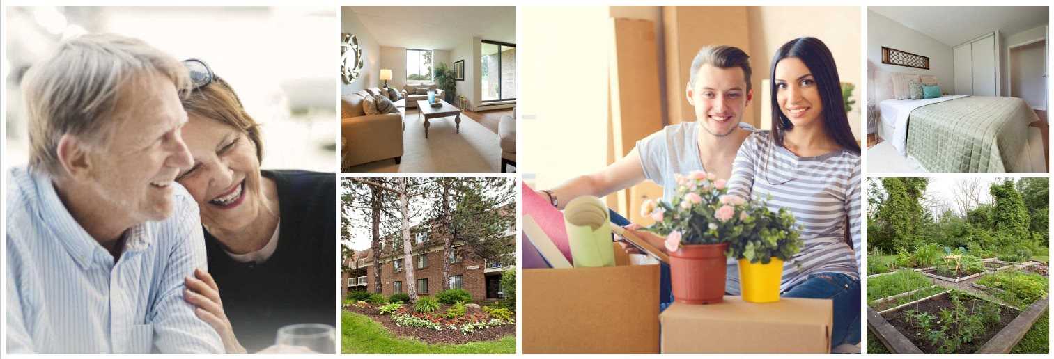 Collage of interior, exterior, and lifestyle images at Squire Court Apartments in St. Catharines, ON