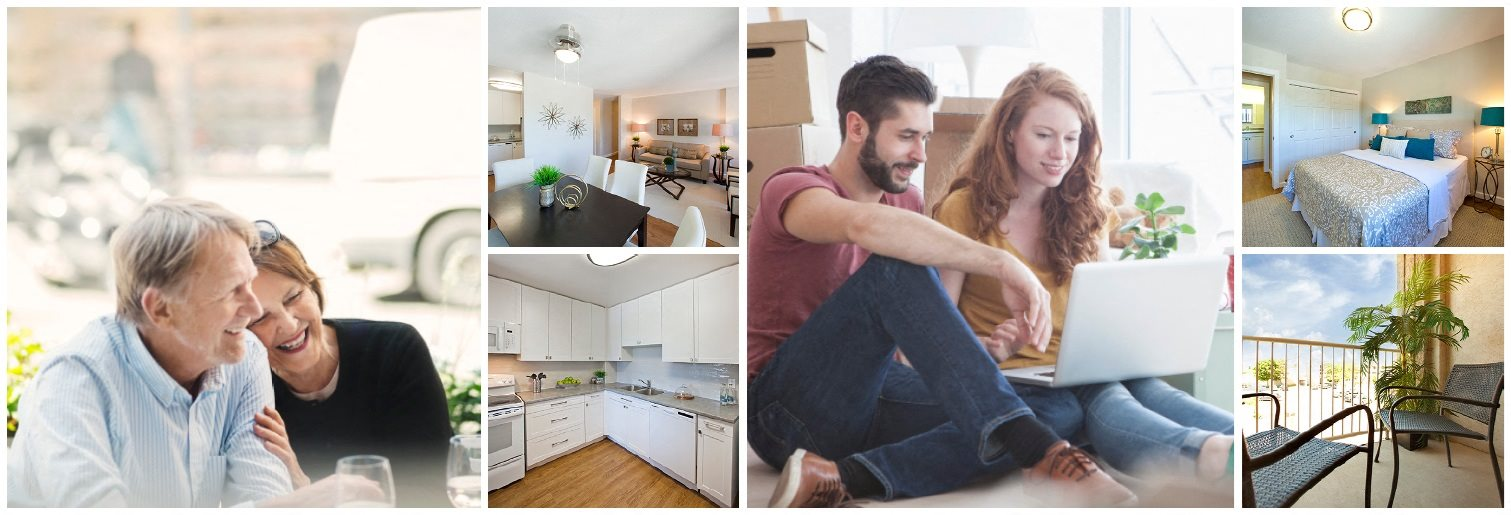 Collage of interior, exterior, and lifestyle images at St. Augustine Place in St. Catharines, ON