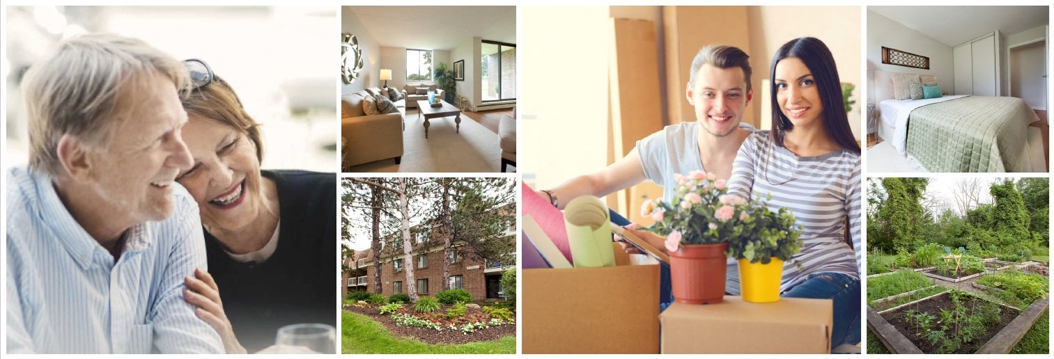 Collage of interior, exterior, and lifestyle images at Waverly Place in St. Catharines, ON