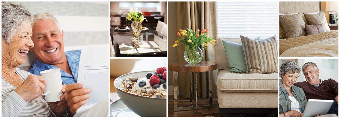 Collage of interior, exterior, and lifestyle images at Chestnut Court in St. Thomas, ON
