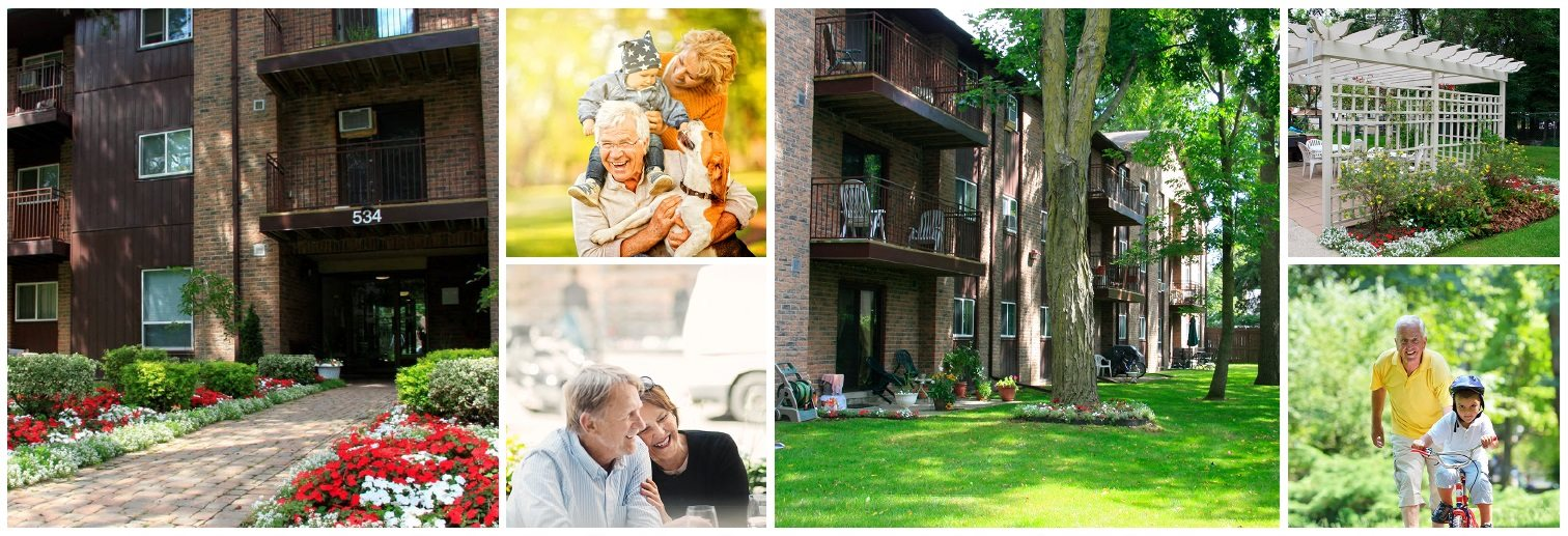 Collage of interior, exterior, and lifestyle images at Mary Street Apartments in Whitby, ON