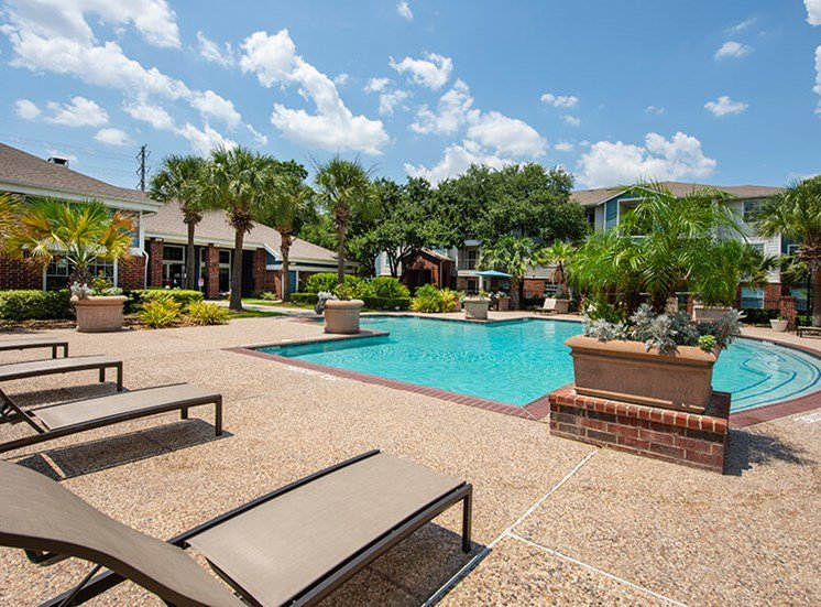 Resident Pool and lounge chairs at 8181 Med Center, Texas