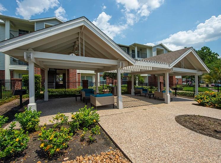outdoor resident lounge at 8181 Med Center, Houston, Texas