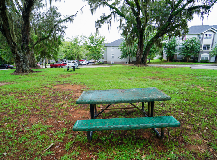 Outdoor picnic area surrounded by native landscaping