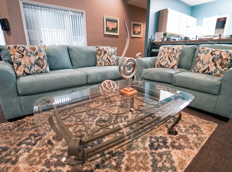 Clubhouse lounge with couches, coffee table, rug, and clubhouse kitchen in the background