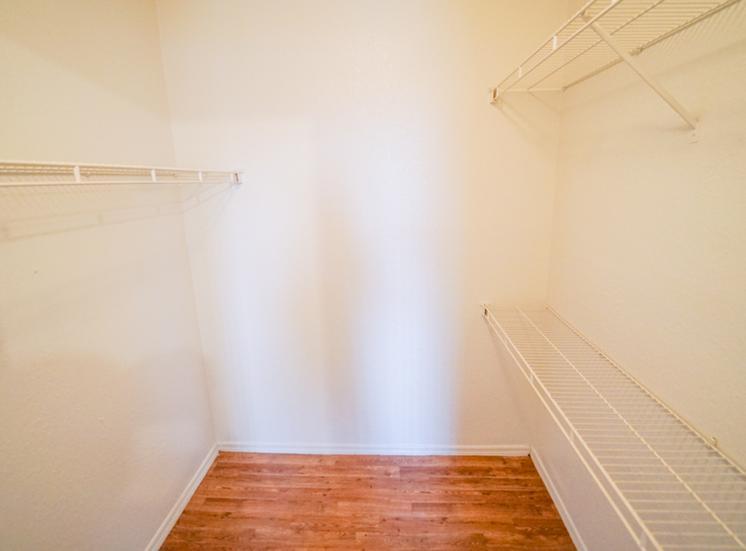 Spacious walk-in closet with hardwood style flooring
