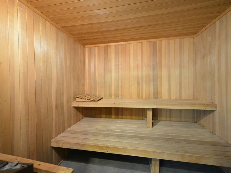 Sauna Steam Room with Wood Inspired Walls and Seats