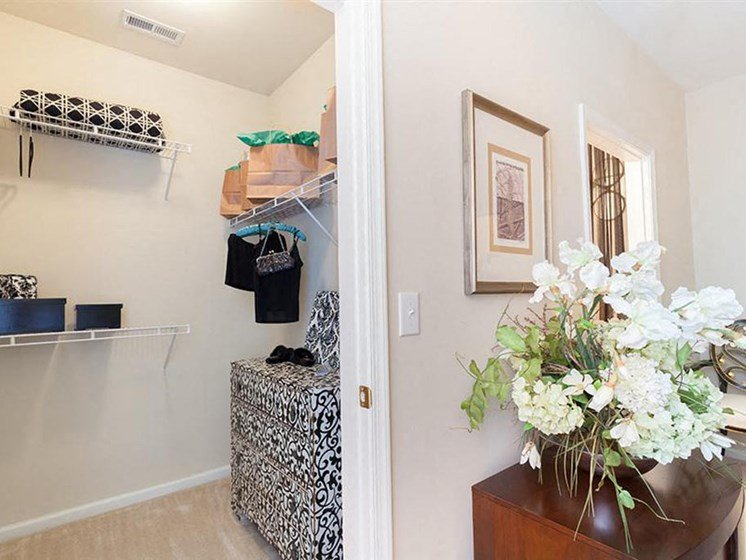 walk-in closet inside a decorated model apartment home