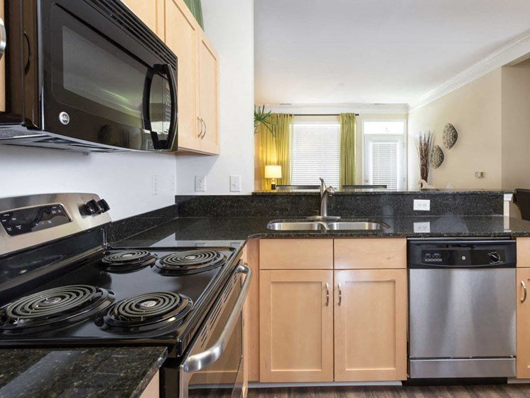decorated model apartment home kitchen