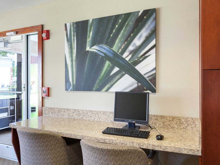 business center inside the clubhouse at 1200 Acqua