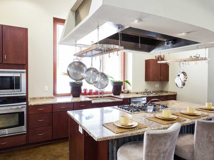 demonstration kitchen with enteraining and social spaces
