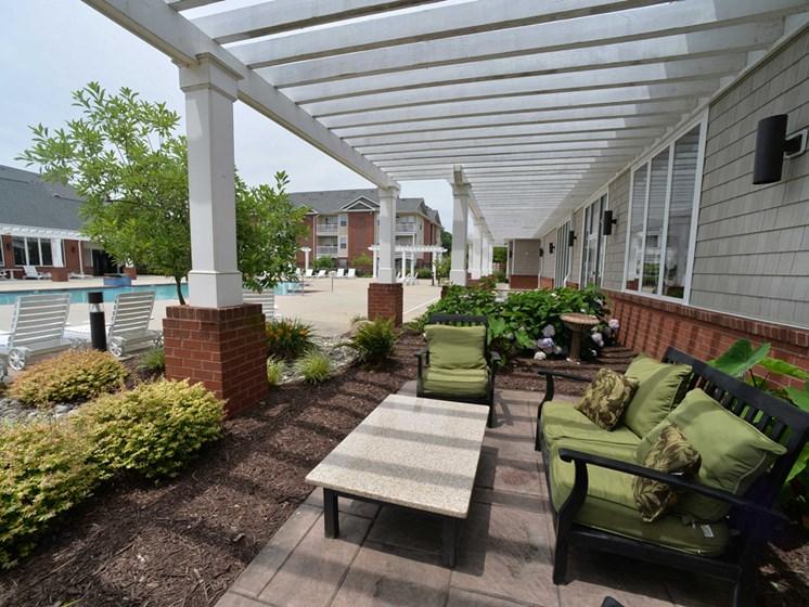 Outdoor seating near the pool in petersburg virginia