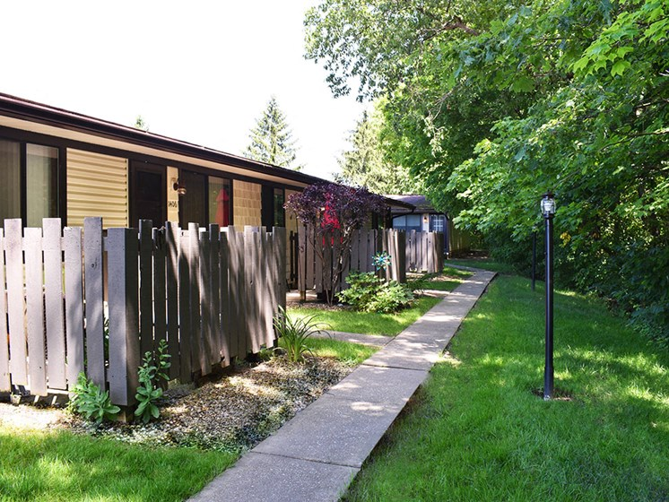 Akron Ohio Apartment Rentals Northampton Apartments by Redwood Exterior Walking Path