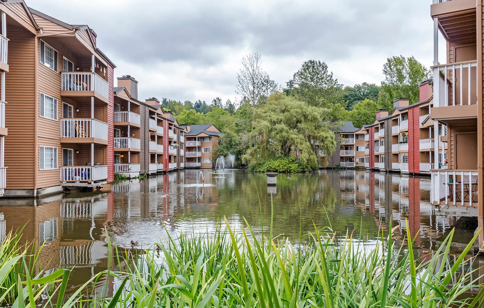 Apartments and duck pond