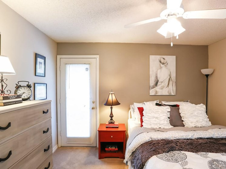 primary bedroom at apartment complex