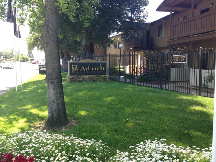 Arborelle Apartment Homes Sign, Grass, Gates, Stret Lights, Apartment Exteriors