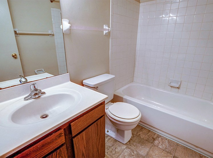 Full-size bathroom with vanity, toilet, shower and tub combo.